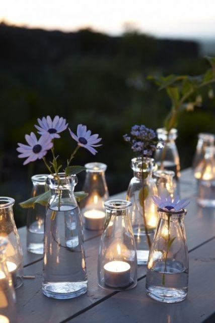 Decorações com velas.