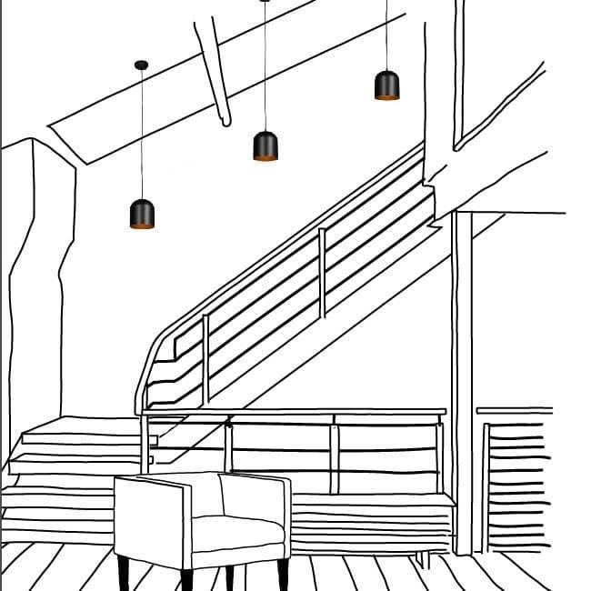 Luminárias pendentes na escada.