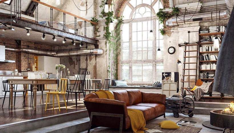 sala de estar urbana industrial