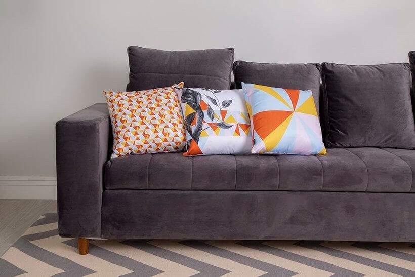 Almofadas Mariri – mesma paleta em padrões variados. Foto: Oppa.