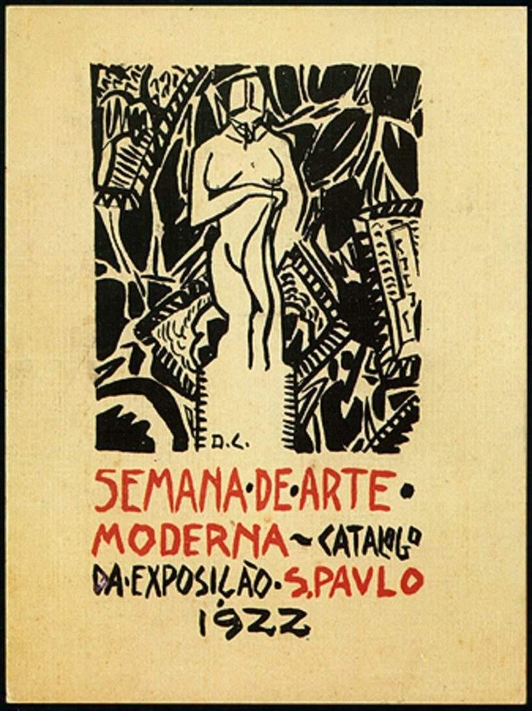 Arte de Di Cavalcanti para a capa do catálogo da exposição da Semana de Arte Moderna (1922). Foto: Reprodução/Itaú Cultural.