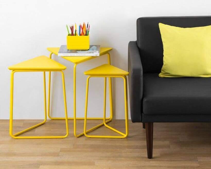 Conjunto Mesa Lateral Trio Amarelo