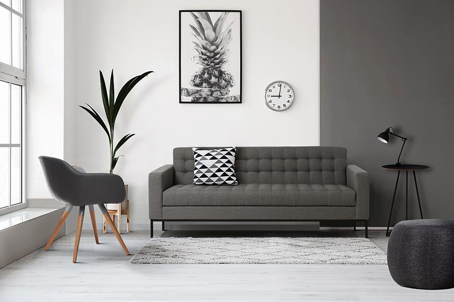 Preto, Branco e Cinza na decoração.