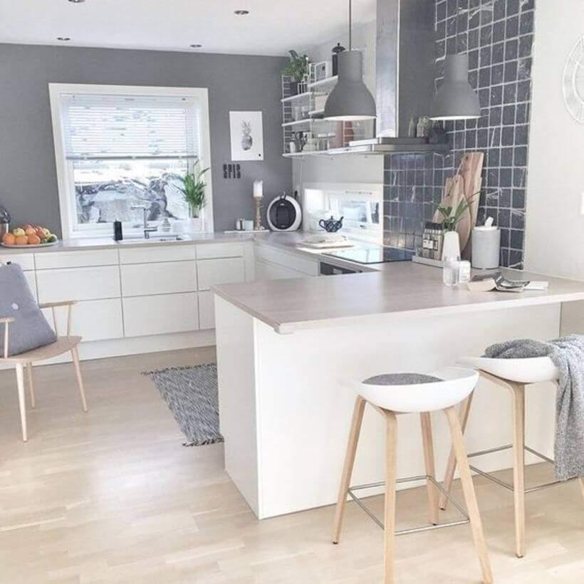 cozinha escandinava em tons de cinza e branco