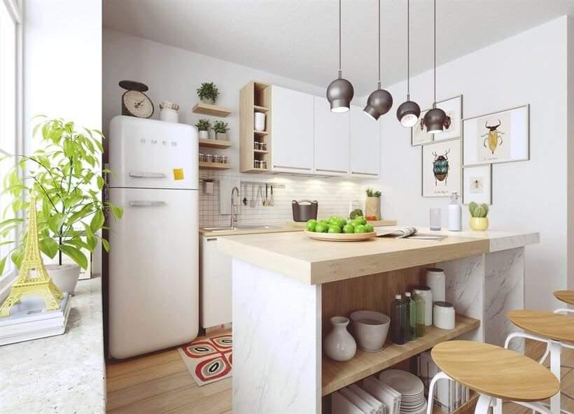 cozinha escandinava com móveis de madeira