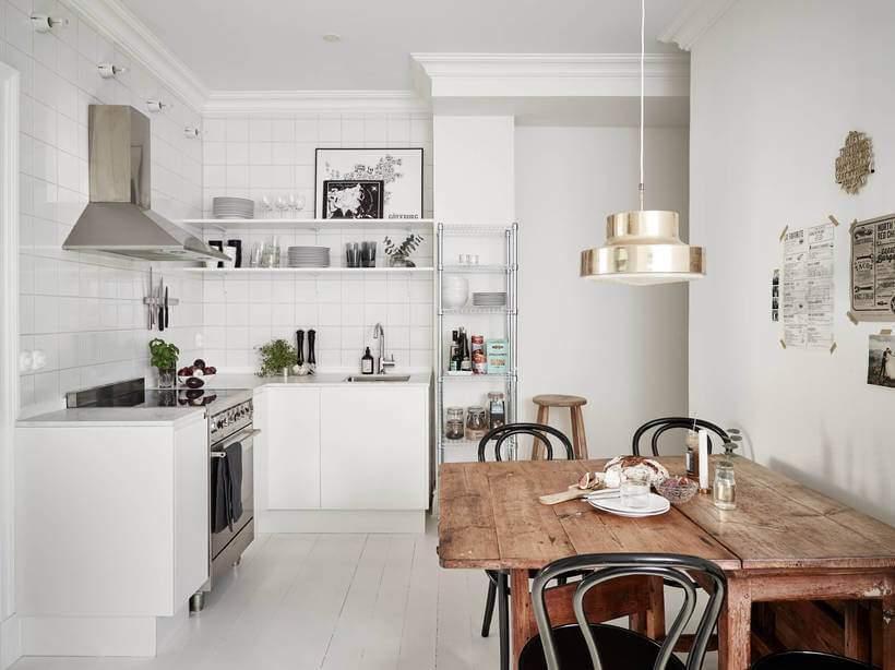 cozinha escandinava e minimalista