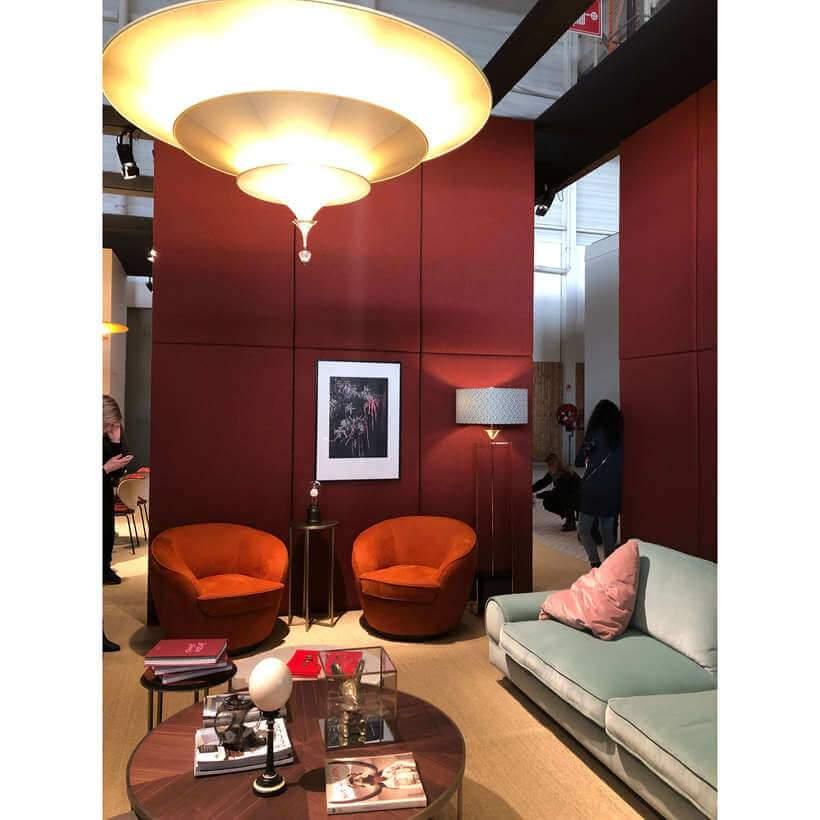 Sala ao estilo gráfico luxuoso, exposta na Maison & Objet 2019. Foto: Viví Kolér.