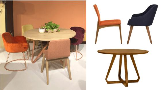 Inspire-se nesta decoração: Mesa de Jantar Redonda Geométrica + Cadeira Anita Laranja + Cadeira Antonieta Azul. (Foto do ambiente: Viví Kolér / IMM Colônia 2019)