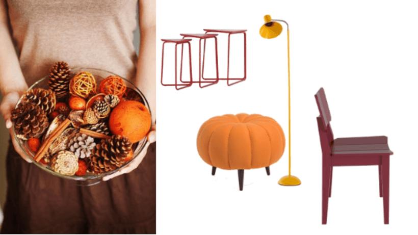 A cartela de cores do outono conta com estes tons: Puff Pitanga Laranja, Cadeira Uma Vinho, Luminária de Piso Funchal Amarela e Conjunto Mesa Lateral Trio Vermelha. Fotos: Reprodução Pinterest / Oppa (produtos).