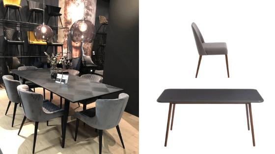 Inspire-se nesta decoração: Mesa de Jantar Biscoito Fino Grafite + Cadeira Rosini Cinza Base Amêndoa. (Foto do ambiente: Viví Kolér / IMM Colônia 2019)