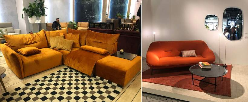 Sofá laranja: você teria? Fotos: Viví Kolér / IMM Colônia e Maison & Objet.