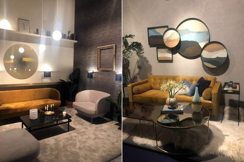 Nos dois projetos, o sofá amarelo é a estrela do ambiente, na companhia de móveis, tapetes e acessórios de tonalidades neutras. Fotos: Viví Kolér / Maison & Objet.