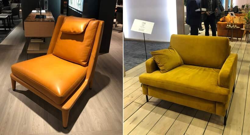 Nas feiras de design, também as poltronas apareceram em couro uísque (alaranjado, à esquerda) e em veludo amarelo. Fotos: Viví Kolér / IMM Colônia.