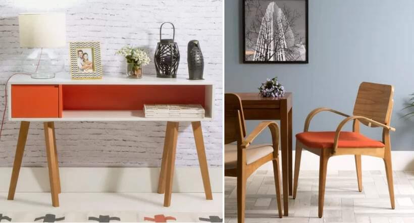 Laranja com madeira em duas versões: Aparador Eme (https://www.oppa.com.br/produto/aparador-eme-laranja) (à esquerda) e Cadeira Regina (https://www.oppa.com.br/produto/cadeira-regina-laranja). Fotos: Oppa.