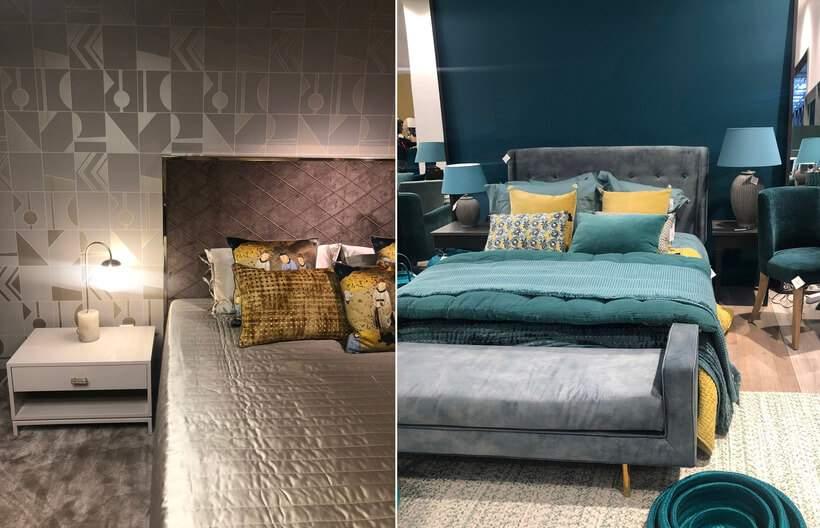 Quartos de casal (https://www.oppa.com.br/ambiente/quarto) com algo em comum – almofadas amarelas (https://pesquisa.oppa.com.br/busca?q=almofada+amarela) enriquecem a paleta de cores de cada ambiente. Fotos: Viví Kolér / Maison & Objet.