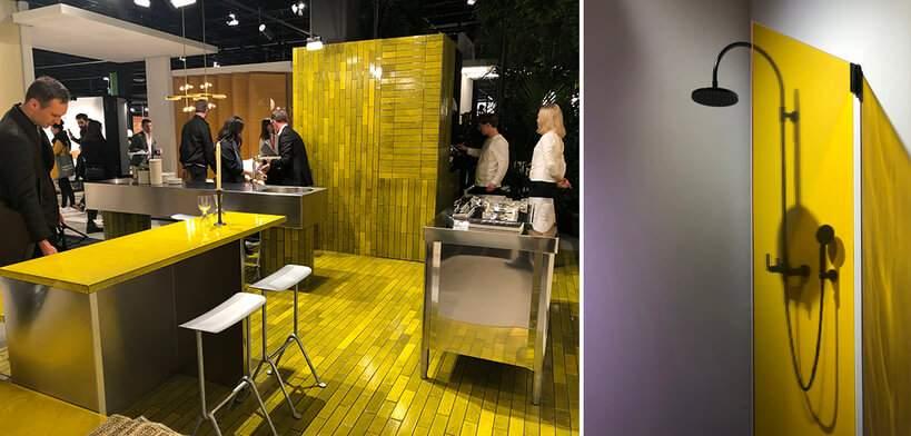 Nem a cozinha escapou da tendência de cores: o revestimento estampado ressalta a beleza do aço inox dos equipamentos. Foto: Viví Kolér / IMM Colônia.