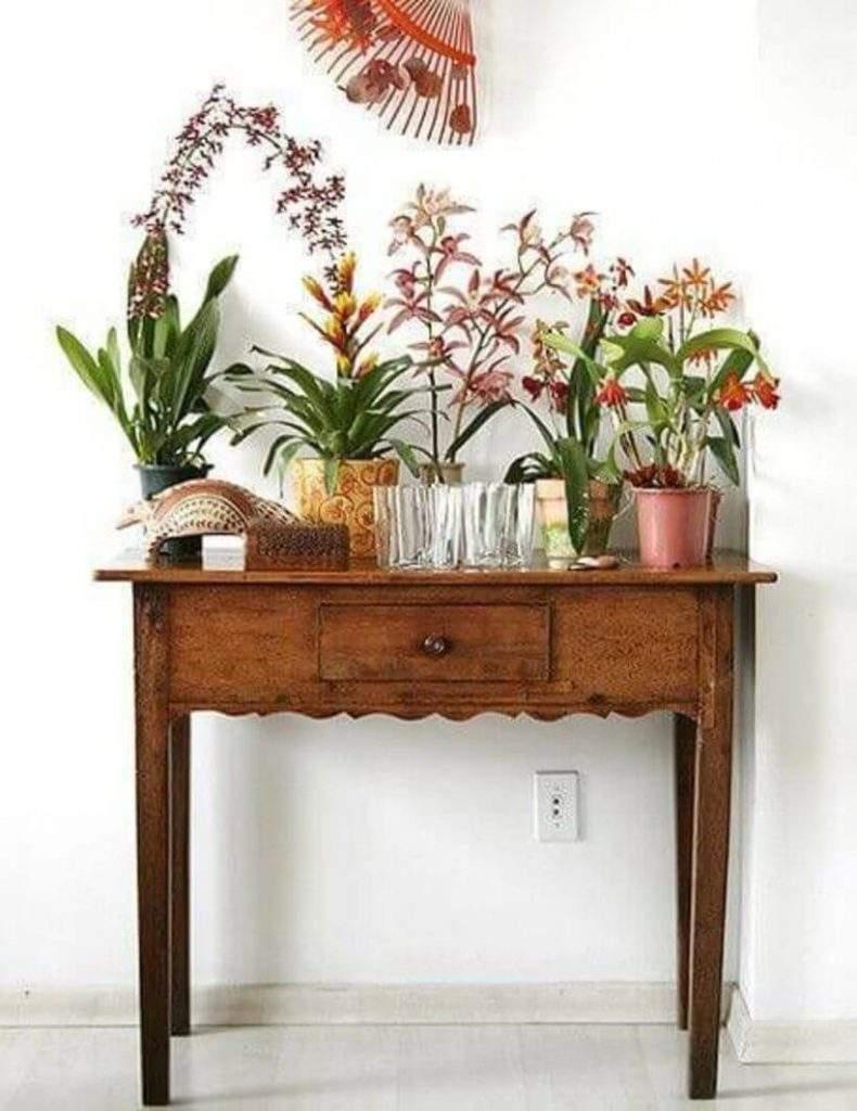 Como não se encantar pelo aparador antiguinho com a coleção de vasos de plantas? Foto: Reprodução Pinterest.