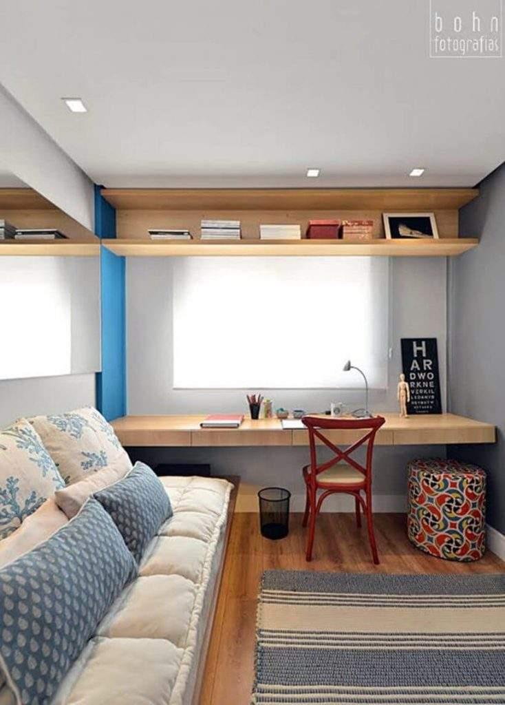 Exemplo caprichado de quarto multiúso com decoração delicada. Foto: Reprodução/Pinterest.