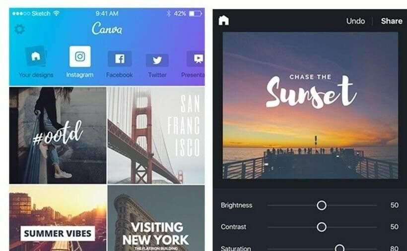 Não faltam aplicativos de celular gratuitos para criar convites, a exemplo do Canva (https://www.canva.com/app/). Foto: Divulgação.