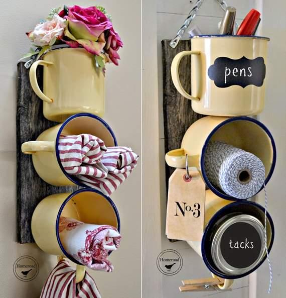 Decoração com canecas e xícaras