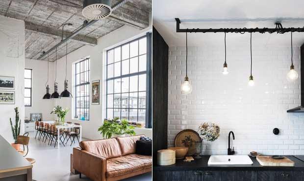 Iluminação cheia de efeito e que remete ao estilo industrial.