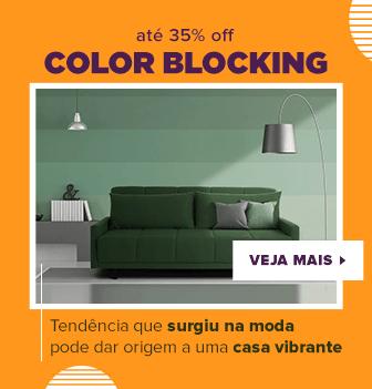 Banner com desconto Color Blocking.